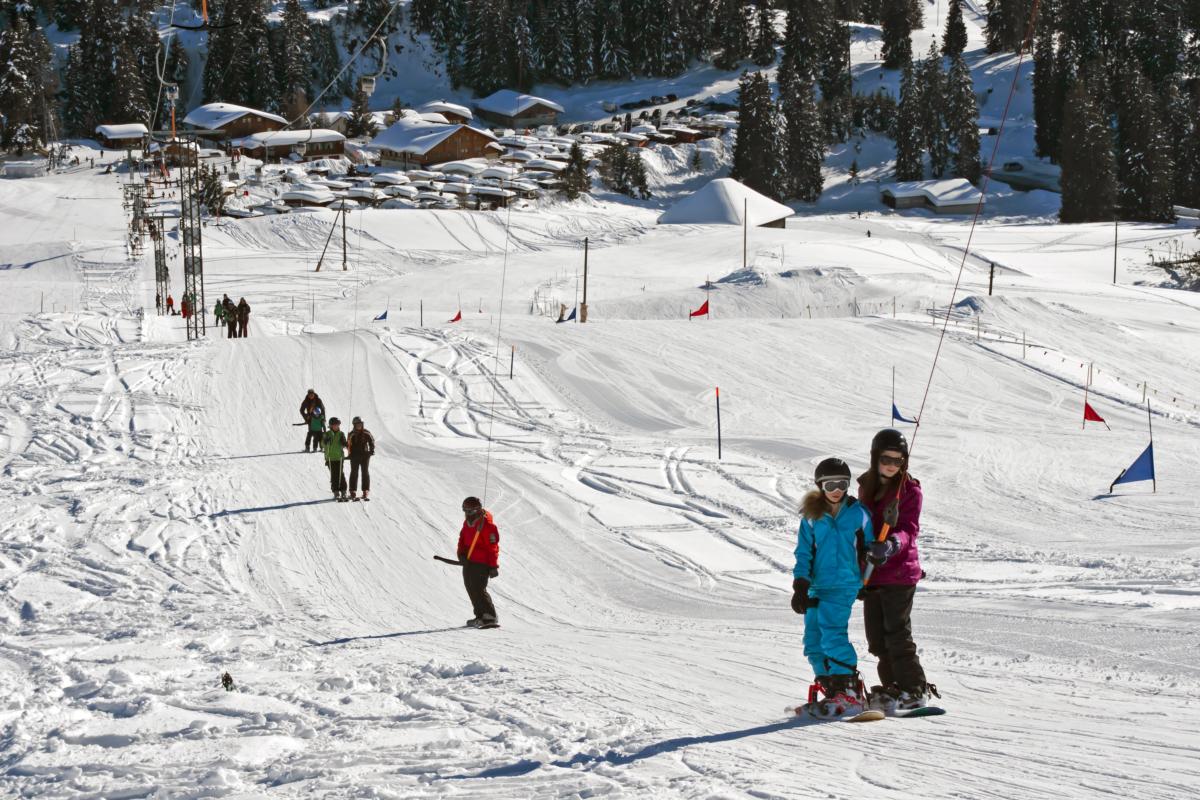 Skifahren auf dem Jaunpass
