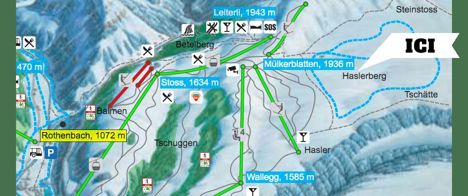 Plan domaine skiable ski de fond