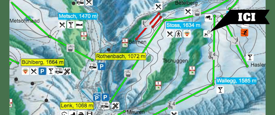 Plan domaine skiable Swisscom Skimovie