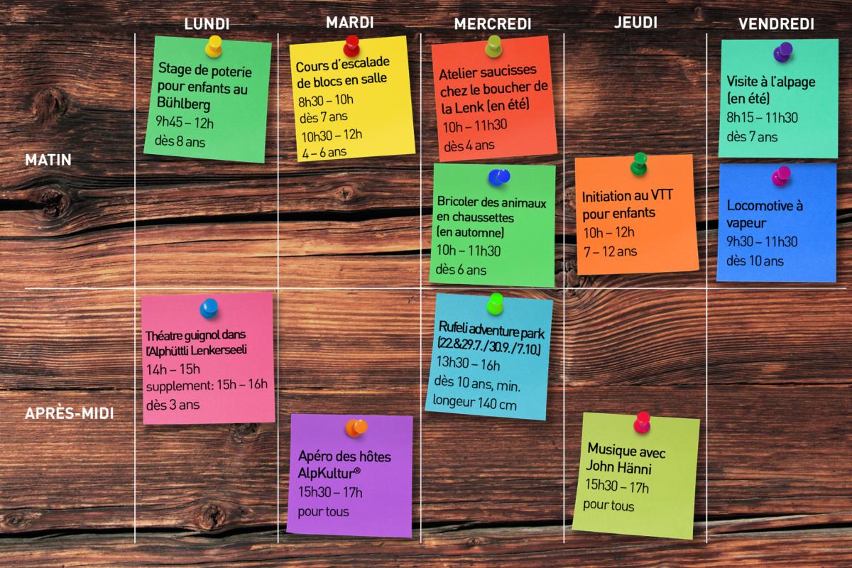 Kinderprogramm Stundenplan