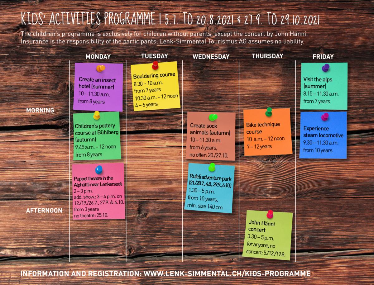 Stundenplan Kinderprogramm